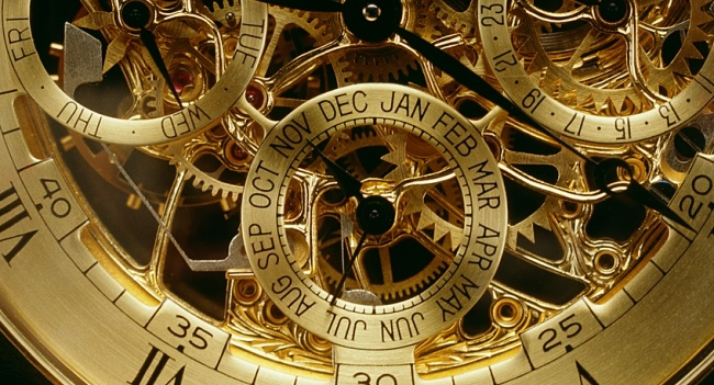 closeup view of watch gears